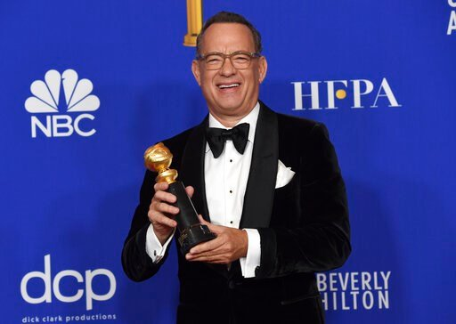 (AP Photo/Chris Pizzello). Tom Hanks, winner of the Cecil B. deMille Award, poses in the press room at the 77th annual Golden Globe Awards at the Beverly Hilton Hotel on Sunday, Jan. 5, 2020, in Beverly Hills, Calif.