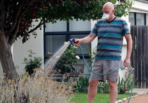 (AP Photo/Mark Baker, File). FILE - In this Jan. 2, 2020, file photo, a man waters his garden while wearing a mask as smoke shrouds the Australian capital of Canberra, Australia. It's an unprecedented dilemma for Australians accustomed to blue skies an...