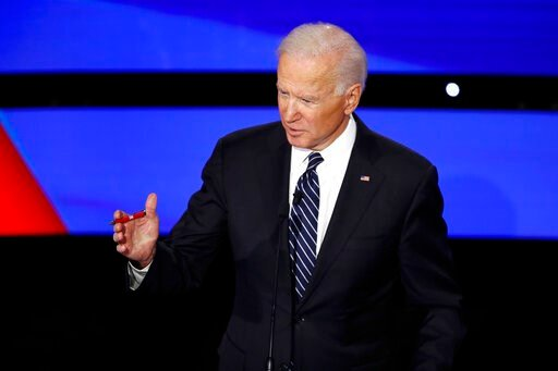 (AP Photo/Patrick Semansky). Democratic presidential candidate former Vice President Joe Biden speaks Tuesday, Jan. 14, 2020, during a Democratic presidential primary debate hosted by CNN and the Des Moines Register in Des Moines, Iowa.