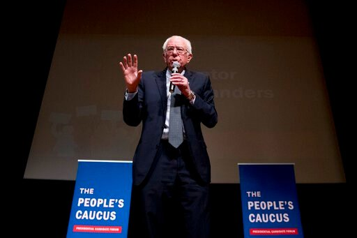 """(AP Photo/Andrew Harnik). Democratic presidential candidate Sen. Bernie Sanders, I-Vt., speaks at """"The People's Caucus: Vote Truth to Power"""" at the Holzworth Performing Arts Center at Davenport North High School, Sunday, Jan. 12, 2020, in Davenport, Io..."""