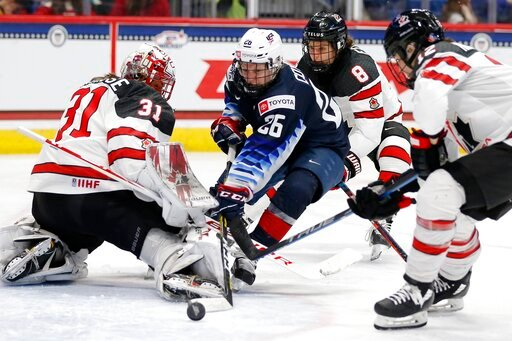 (AP Photo/Michael Dwyer). Canada's Geneviève Lacasse (31) blocks a shot by United States' Kendall Coyne Schofield (26) during the third period of a rivalry series women's hockey game in Hartford, Conn., Saturday, Dec. 14, 2019.
