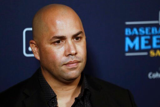 (AP Photo/Gregory Bull). New York Mets manager Carlos Beltran listens to a question during the Major League Baseball winter meetings, Tuesday, Dec. 10, 2019, in San Diego.