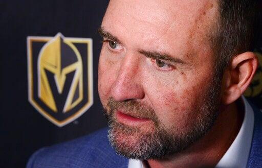 (Sean Kilpatrick/The Canadian Press via AP). Vegas Golden Knights new head coach Peter DeBoer talks to media after defeating the Ottawa Senators 4-2 in an NHL hockey game, Thursday, Jan. 16, 2020 in Ottawa, Ontario.