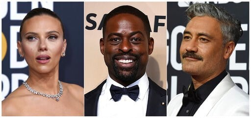 (AP Photo). This combination of photos shows, from left, Scarlett Johansson, Sterling K. Brown and Taika Waititi, who will join Roman Griffin Davis, Jason Bateman, Lili Reinhart and Kaitlyn Dever as presenters at the 26th annual Screen Actors Guild Awa...