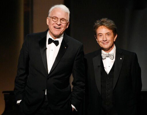 (Photo by Chris Pizzello/Invision/AP, File). FILE - In this June 8, 2017 file photo, Steve Martin, left, and Martin Short appear at the 45th AFI Life Achievement Award Tribute to Diane Keaton in Los Angeles.  Steve Martin and Martin Short are taking th...