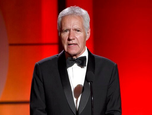 (Photo by Chris Pizzello/Invision/AP, File). FILE - In this April 30, 2017, file photo, Alex Trebek speaks at the 44th annual Daytime Emmy Awards at the Pasadena Civic Center in Pasadena, Calif. Trebek says he's already rehearsed what he's going to say...