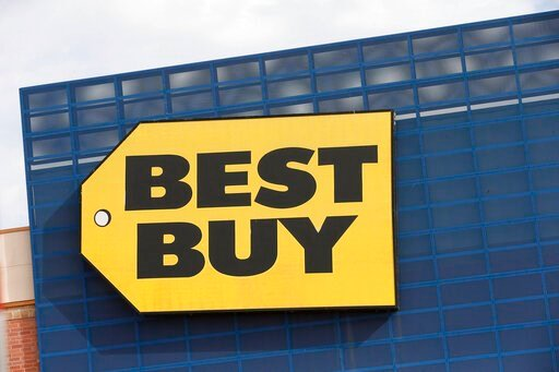 (AP Photo/Jim Mone, File). FILE - In this Aug. 27, 2019, file photo, the Best Buy logo is shown on a store in Richfield, Minn. Best Buy said it is investigating CEO Corie Barry after receiving an anonymous letter that made allegations against her. Best...