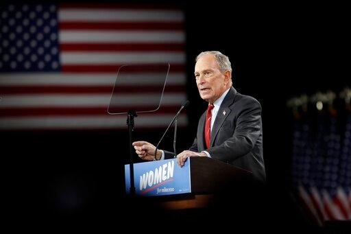 (AP Photo/Frank Franklin II). Democratic presidential candidate Michael Bloomberg speaks to supporters Wednesday, Jan. 15, 2020, in New York.
