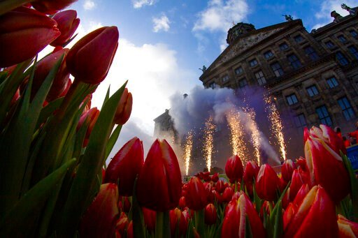 (AP Photo/Peter Dejong). Fireworks are set off as scores of people wait pick free tulips on Dam Square in front of the Royal Palace in Amsterdam, Netherlands, Saturday, Jan. 18, 2020, on national tulip day which marks the opening of the 2020 tulip seas...