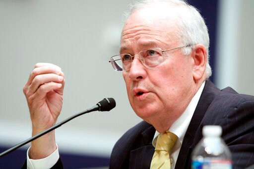 (AP Photo/Lauren Victoria Burke, File). FILE - In this May 8, 2014, file photo, then Baylor University President Ken Starr testifies at the House Committee on Education and Workforce on college athletes forming unions. in Washington. President Donald T...