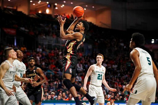 (AP Photo/Brynn Anderson). Florida State forward Malik Osborne (10) shoots the ball during the first half of an NCAA college basketball game against Miami on Saturday, Jan. 18, 2020, in Coral Gables, Fla.