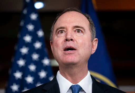 (AP Photo/J. Scott Applewhite). House Intelligence Committee Chairman Adam Schiff, D-Calif., takes a reporter's question as Speaker of the House Nancy Pelosi, D-Calif., announces impeachment managers before sending articles of impeachment to the Senate...