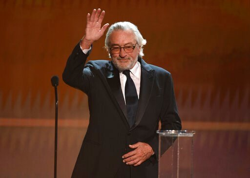 (Photo/Chris Pizzello). Robert De Niro accepts the lifetime achievement award at the 26th annual Screen Actors Guild Awards at the Shrine Auditorium & Expo Hall on Sunday, Jan. 19, 2020, in Los Angeles.