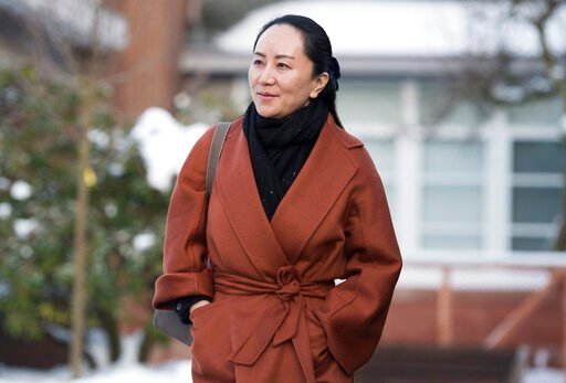 (Jonathan Hayward/The Canadian Press via AP, File). FILE - In this  Jan. 17, 2020, file photo, Huawei chief financial officer Meng Wanzhou, who is out on bail and remains under partial house arrest after she was detained last year at the behest of Amer...