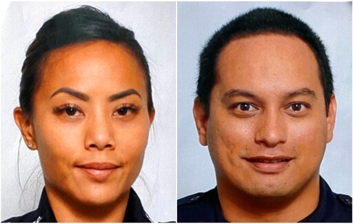 (Courtesy of Honolulu Police Department via AP). This undated photo provided by the Honolulu Police Department shows Officers Tiffany Enriquez, left, and Kaulike Kalama. Enriquez and Kalama were killed Sunday, Jan. 19, 2020, while responding to a call.