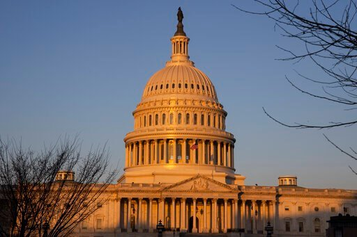 (AP Photo/Jon Elswick). The U.S. Capitol at sunrise on Monday, Jan. 20, 2020, in Washington. A major doctors' organization is calling for sweeping government action to guarantee coverage for all, reduce costs, and improve the basic well-being of Americ...