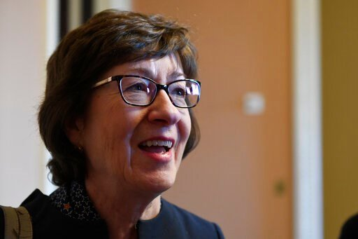 (AP Photo/Susan Walsh). Sen. Susan Collins, R-Maine, talks to reporters on Capitol Hill in Washington, Wednesday, Jan. 15, 2020.