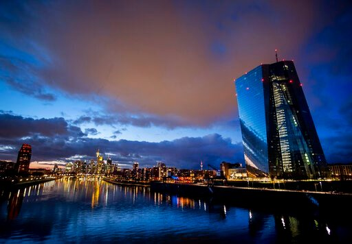 (AP Photo/Michael Probst). Clouds drift over the European Central Bank, right, in Frankfurt, Germany, Saturday, Jan. 18, 2020.