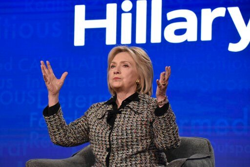 """(Photo by Richard Shotwell/Invision/AP). Hillary Clinton participates in the Hulu """"Hillary"""" panel during the Winter 2020 Television Critics Association Press Tour, on Friday, Jan. 17, 2020, in Pasadena, Calif."""