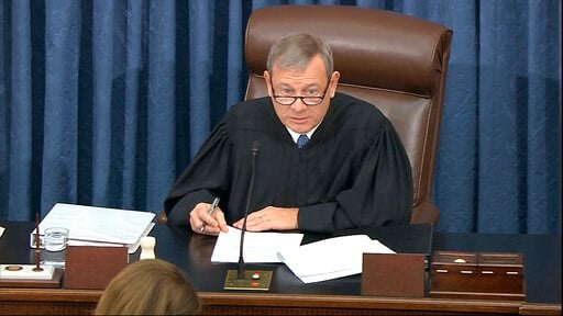 (Senate Television via AP). In this image from video, presiding officer Supreme Court Chief Justice John Roberts speaks during the impeachment trial against President Donald Trump in the Senate at the U.S. Capitol in Washington, Tuesday, Jan. 21, 2020.