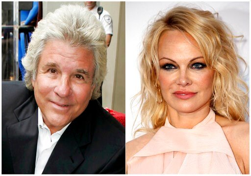 (AP Photo). This combination photo shows Hollywood producer Jon Peters at a ceremony honoring him with a star on the Hollywood Walk of Fame in Los Angeles on May 1, 2007, left, and model-actress Pamela Anderson at the amfAR, Cinema Against AIDS, benefi...