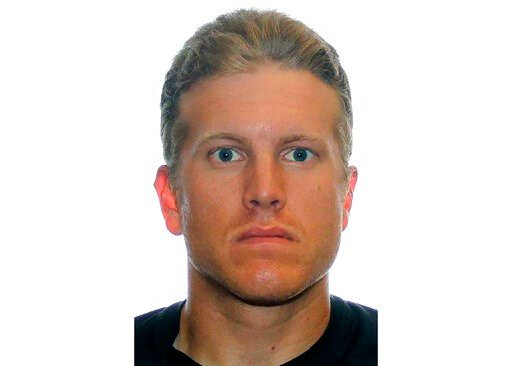 (Royal Canadian Mounted Police via AP). FILE - This undated photo provided by the Royal Canadian Mounted Police shows Patrik Mathews. FBI agents on Thursday, Jan. 16, 2020, arrested the former Canadian Armed Forces reservist and two other men who are l...