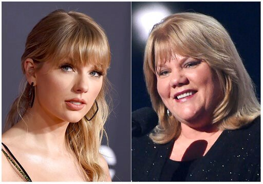 (AP Photo). This combination photo shows Taylor Swift at the American Music Awards in Los Angeles on Nov. 24, 2019, left, and Swift's mother Andrea Finlay at the 50th annual Academy of Country Music Awards in Arlington, Texas on April 19, 2015.  Swift ...
