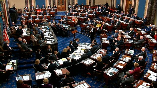 (Senate Television via AP). In this image from video, the Senate votes on the amendment offered by Senate Minority Leader Chuck Schumer, D-N.Y., in the impeachment trial against President Donald Trump in the Senate at the U.S. Capitol in Washington, Tu...