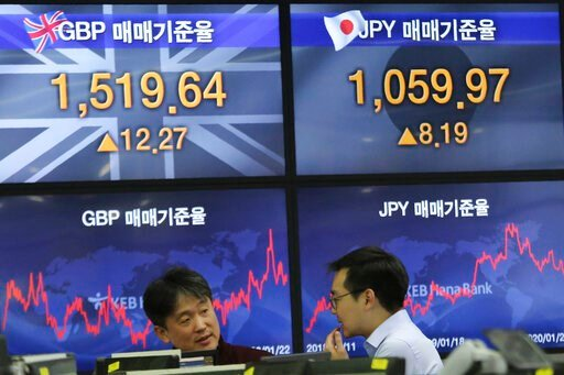 (AP Photo/Ahn Young-joon). Currency traders work at the foreign exchange dealing room of the KEB Hana Bank headquarters in Seoul, South Korea, Wednesday, Jan. 22, 2020. Shares advanced in early Asian trading after a slide in U.S. stocks Tuesday as a vi...