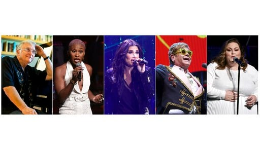 (AP Photo). This combination of photos shows, from left, Randy Newman, Cynthis Erivo, Idina Menzel, Elton John and Chrissy Metz who will perform nominated songs at the 92nd Oscars on Feb. 9.