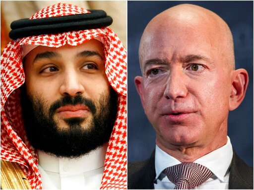 (AP Photo). This combination of photos shows Saudi Arabia's Crown Prince Mohammed bin Salman in Jeddah, Saudi Arabia, on June 24, 2019 and Jeff Bezos, Amazon founder and CEO, in Washington, on Sept. 13, 2018. Cybersecurity experts said Thursday, Jan. 2...