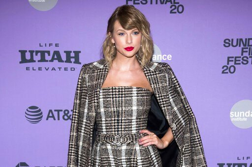 """(Photo by Charles Sykes/Invision/AP). Taylor Swift attends the premiere of """"Miss Americana"""" at the Eccles Theater during the 2020 Sundance Film Festival on Thursday, Jan. 23, 2020, in Park City, Utah."""