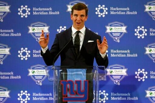 (AP Photo/Adam Hunger). New York Giants NFL football quarterback Eli Manning announces his retirement on Friday, Jan. 24, 2020, in East Rutherford, N.J.