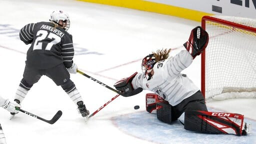 (AP Photo/Jeff Roberson). Canada goalie Ann-Renee Desbiens (35) stops a United States' Annie Pankowski (27) shot during the first period in the women's 3-on-3 game, part of the NHL hockey All-Star weekend, Friday, Jan. 24, 2020, in St. Louis.