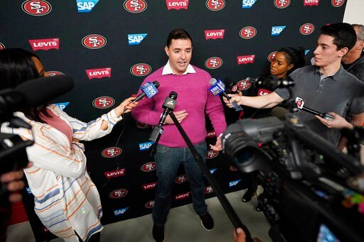 (AP Photo/Tony Avelar). San Francisco 49ers owner Jed York speaks to reporters after a practice at the team's NFL football training facility in Santa Clara, Calif., Friday, Jan. 24, 2020. The 49ers will face the Kansas City Chiefs in Super Bowl 54.