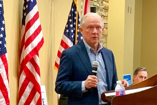 (AP Photo/Kim Chandler). In this Jan. 11, 2020 photo, former U.S. Attorney General Jeff Sessions speaks to the Mid Alabama Republican Club in Vestavia Hills, AL. Sessions is stressing his loyalty to President Donald Trump as he seeks to regain the Alab...