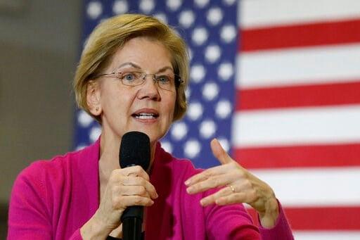 (AP Photo/Sue Ogrocki). Sen. Elizabeth Warren, D-Mass., Democratic presidential candidate, speaks during a town hall meeting Saturday, Jan. 25, 2020, in Muscatine, Iowa.