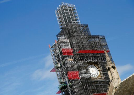 (AP Photo/Alastair Grant, file). FILE - In this Tuesday, April 17, 2018 file photo, scaffolding surrounds the Queen Elizabeth Tower, which holds the bell known as Big Ben, in London. The bell of Britain's Parliament has been largely silent since 2017 w...