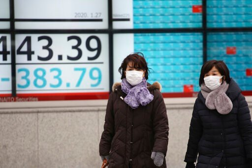 (AP Photo/Koji Sasahara). People walk by an electronic stock board of a securities firm in Tokyo, Monday, Jan. 27, 2020. Shares tumbled Monday in the few Asian markets open as China announced sharp increases in the number of people affected in an outbr...