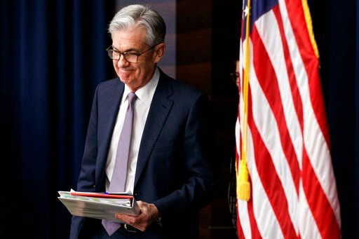(AP Photo/Jacquelyn Martin, File). FILE - In this Dec. 11, 2019, file photo Federal Reserve Chair Jerome Powell arrives to speak at a news conference after the Federal Open Market Committee meeting in Washington. For the first time in years, Federal Re...