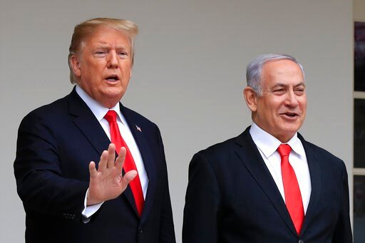 (AP Photo/Manuel Balce Ceneta, File). FILE - In this March 25, 2019, file photo, President Donald Trump welcomes visiting Israeli Prime Minister Benjamin Netanyahu to the White House in Washington. Trump is holding back-to-back meetings with Israeli Pr...