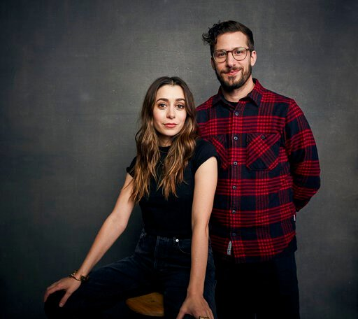 "(Photo by Taylor Jewell/Invision/AP). Cristin Milioti, left, and Andy Samberg pose for a portrait to promote the film ""Palm Springs"" at the Music Lodge during the Sundance Film Festival on Saturday, Jan. 25, 2020, in Park City, Utah."