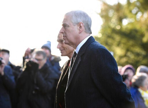 (Joe Giddens/PA via AP). FILE - In this Jan. 19, 2020 file photo, Britain's Prince Andrew accompanies Queen Elizabeth II to attend a church service at St Mary the Virgin, in Hillington, England. A U.S. prosecutor overseeing the Jeffrey Epstein sex traf...