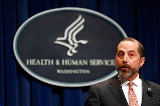 (AP Photo/Patrick Semansky). Health and Human Services Secretary Alex Azar speaks at a news conference about the federal government's response to a virus outbreak originating in China, Tuesday, Jan. 28, 2020, in Washington.