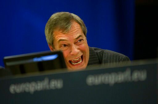 (AP Photo/Virginia Mayo). Brexit Party leader Nigel Farage speaks during a media conference at the European Parliament in Brussels, Wednesday, Jan. 29, 2020. The U.K. is due to leave the EU on Friday, Jan. 31, 2020, the first nation in the bloc to do s...