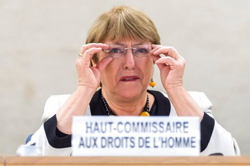 (KEYSTONE/Martial Trezzini)/Keystone via AP). UN High Commissioner for Human Rights Michelle Bachelet speaks an update on the situation of human rights in Venezuela, of the Human Rights Council, at the European headquarters of the United Nations in Gen...