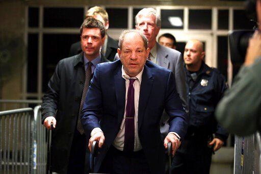 (AP Photo/Michael Owens). Harvey Weinstein, center, exits following his trial on charges of rape and sexual assault, Monday, Jan. 27, 2020, in New York.