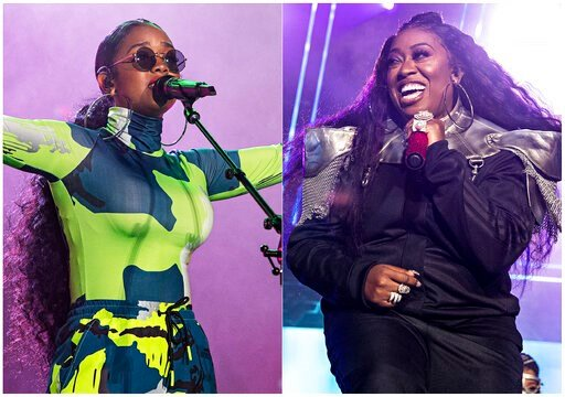 (Photo by Amy Harris/Invision/AP). This combination photo shows H.E.R. performing at the 2019 Essence Festival in New Orleans on July 6, 2019, left, and Missy Elliott performing at the 2019 Essence Festival on July 5, 2019. The pair will appear in a ne...