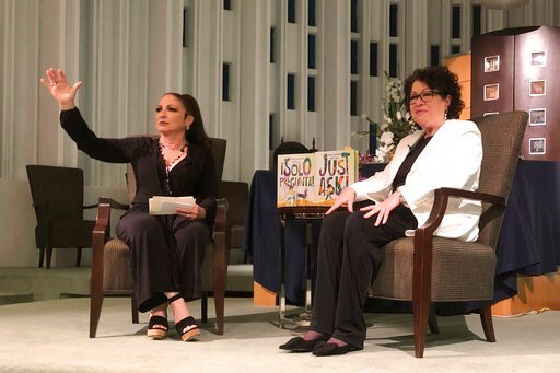 "(AP Photo/Adriana Gomez Licon). In this Tuesday, Jan. 28, 2020 photo, Singer Gloria Estefan moderates a presentation with Supreme Court Justice Sonia Sotomayor in Miami. Sotomayor spoke to a crowd about her new book ""Just Ask"". The new illustrated book..."