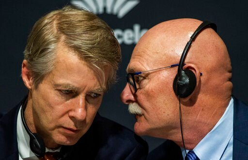 (AP Photo/Emilio Morenatti). Director general of the GSMA Mats Granryd, left, speaks with CEO and Director for GSMA Ltd. John Hoffman during a press conference in Barcelona, Spain, Thursday, Feb. 13, 2020, after it was announced the annual Mobile World...